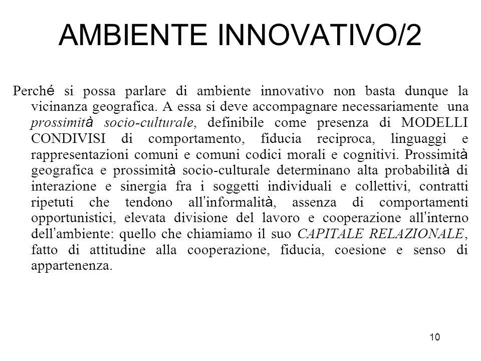 10 AMBIENTE INNOVATIVO/2 Perch é si possa parlare di ambiente innovativo non basta dunque la vicinanza geografica. A essa si deve accompagnare necessa