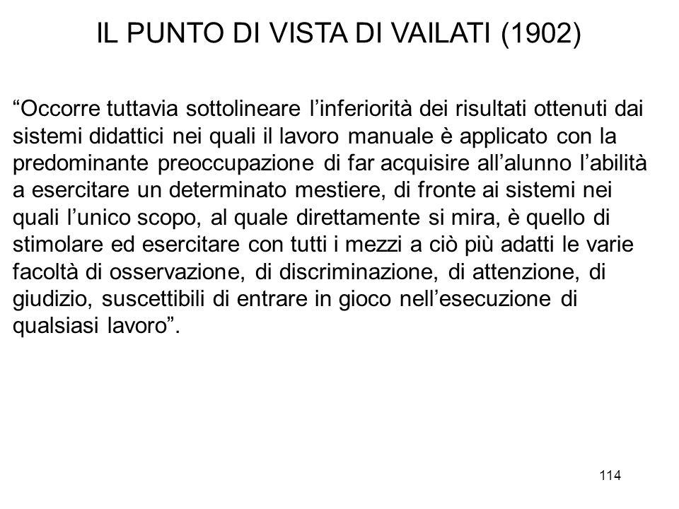 114 IL PUNTO DI VISTA DI VAILATI (1902) Occorre tuttavia sottolineare linferiorità dei risultati ottenuti dai sistemi didattici nei quali il lavoro ma