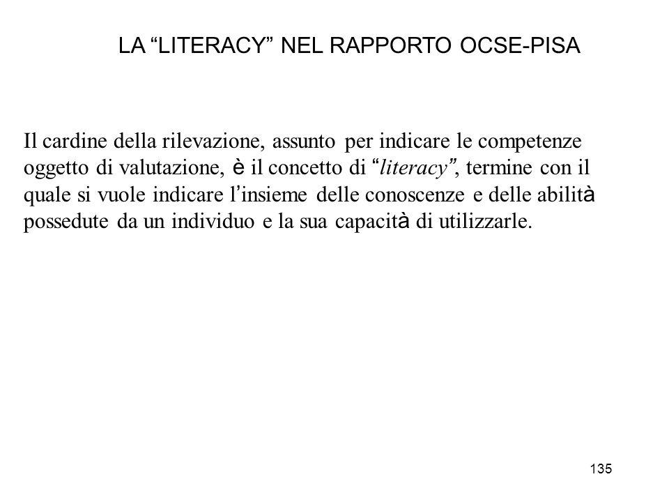 135 LA LITERACY NEL RAPPORTO OCSE-PISA Il cardine della rilevazione, assunto per indicare le competenze oggetto di valutazione, è il concetto di liter