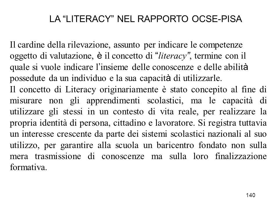 140 LA LITERACY NEL RAPPORTO OCSE-PISA Il cardine della rilevazione, assunto per indicare le competenze oggetto di valutazione, è il concetto di liter