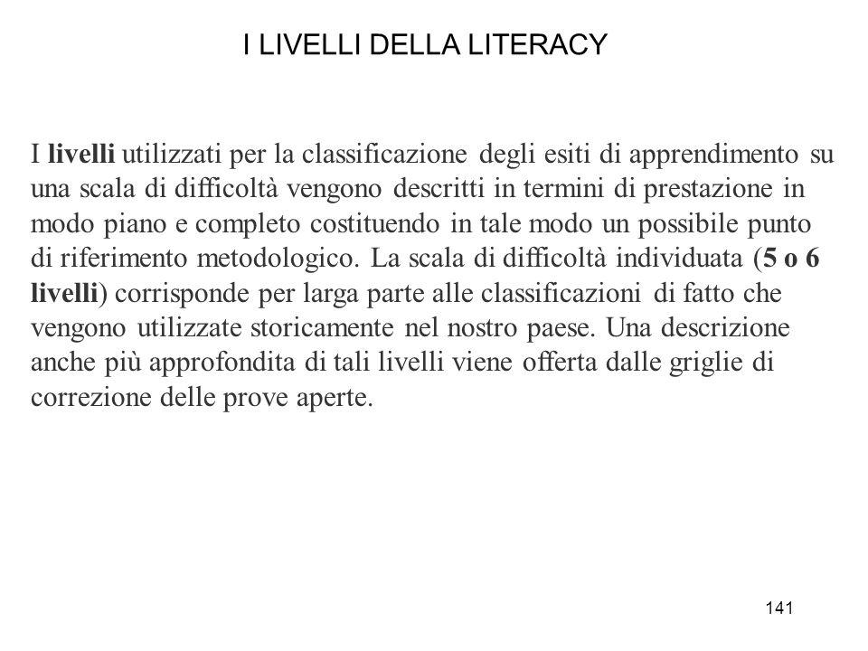 141 I LIVELLI DELLA LITERACY I livelli utilizzati per la classificazione degli esiti di apprendimento su una scala di difficoltà vengono descritti in