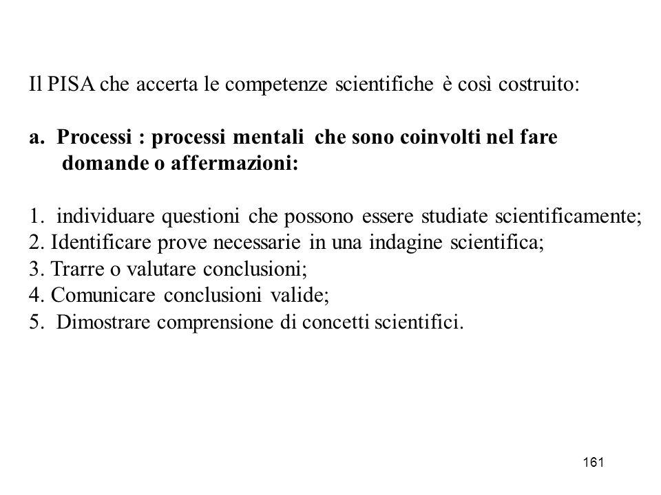 161 Il PISA che accerta le competenze scientifiche è così costruito: a. Processi : processi mentali che sono coinvolti nel fare domande o affermazioni
