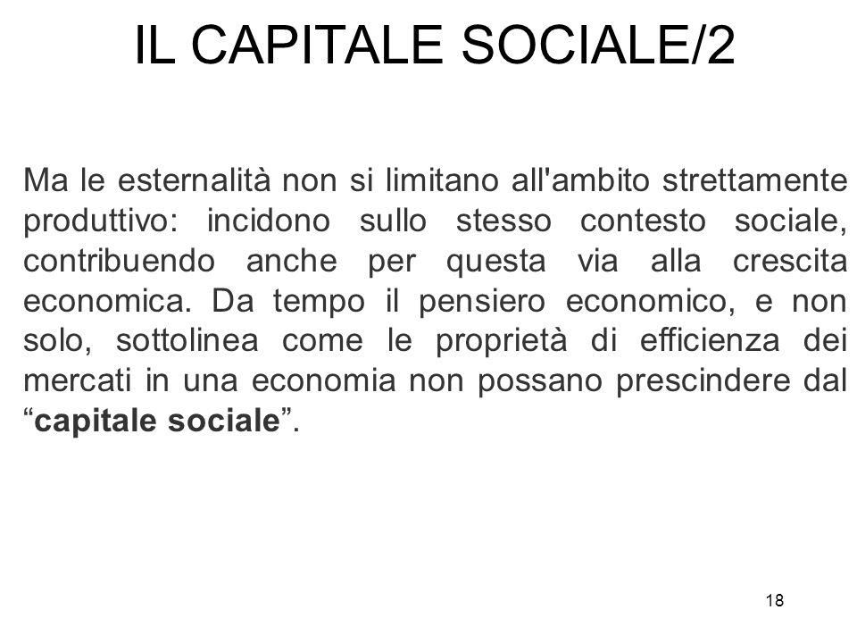 18 Ma le esternalità non si limitano all'ambito strettamente produttivo: incidono sullo stesso contesto sociale, contribuendo anche per questa via all
