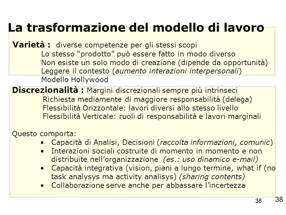 38 La trasformazione del modello di lavoro Varietà : diverse competenze per gli stessi scopi Lo stesso prodotto può essere fatto in modo diverso Non e