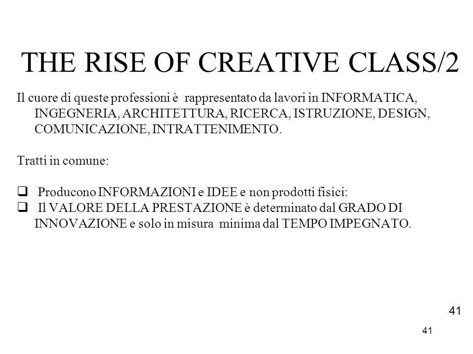 41 THE RISE OF CREATIVE CLASS/2 Il cuore di queste professioni è rappresentato da lavori in INFORMATICA, INGEGNERIA, ARCHITETTURA, RICERCA, ISTRUZIONE