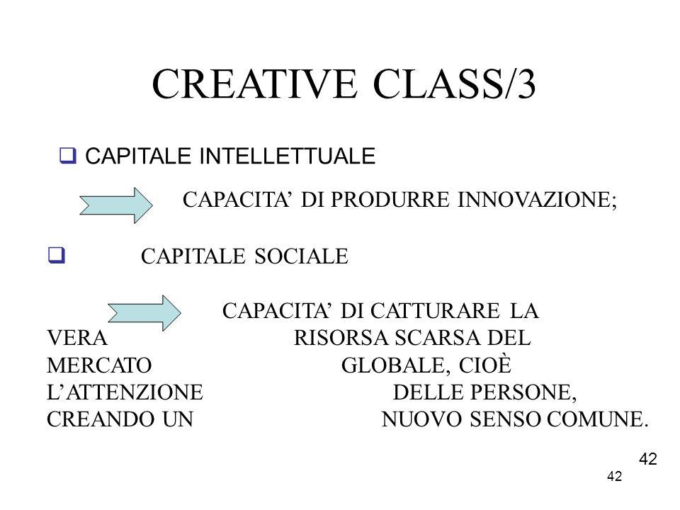 42 CREATIVE CLASS/3 CAPITALE INTELLETTUALE CAPACITA DI PRODURRE INNOVAZIONE; CAPITALE SOCIALE CAPACITA DI CATTURARE LA VERA RISORSA SCARSA DEL MERCATO