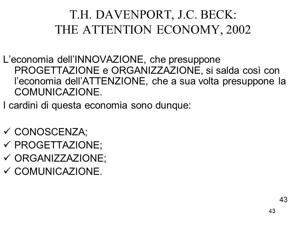 43 T.H. DAVENPORT, J.C. BECK: THE ATTENTION ECONOMY, 2002 Leconomia dellINNOVAZIONE, che presuppone PROGETTAZIONE e ORGANIZZAZIONE, si salda così con