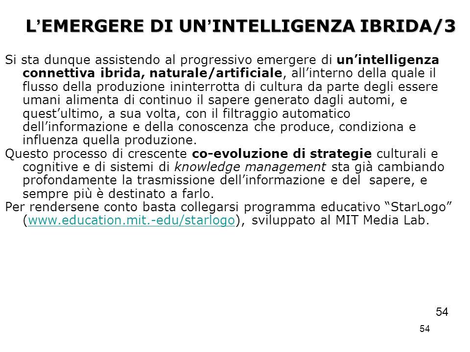 54 L EMERGERE DI UN INTELLIGENZA IBRIDA/3 Si sta dunque assistendo al progressivo emergere di unintelligenza connettiva ibrida, naturale/artificiale,