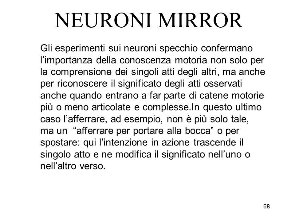 68 NEURONI MIRROR Gli esperimenti sui neuroni specchio confermano limportanza della conoscenza motoria non solo per la comprensione dei singoli atti d
