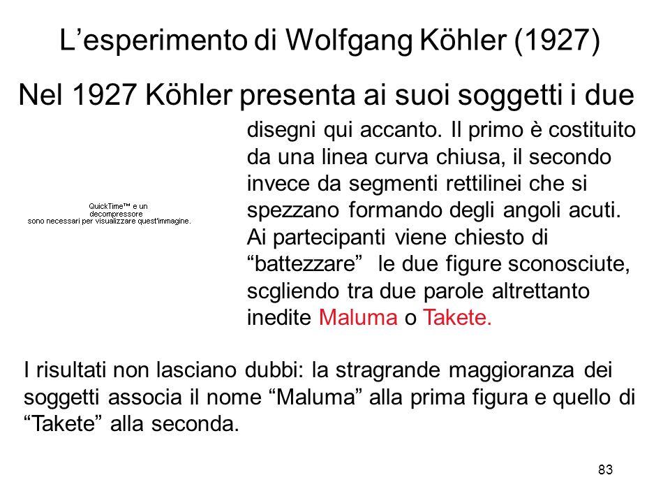 83 Lesperimento di Wolfgang Köhler (1927) Nel 1927 Köhler presenta ai suoi soggetti i due disegni qui accanto. Il primo è costituito da una linea curv