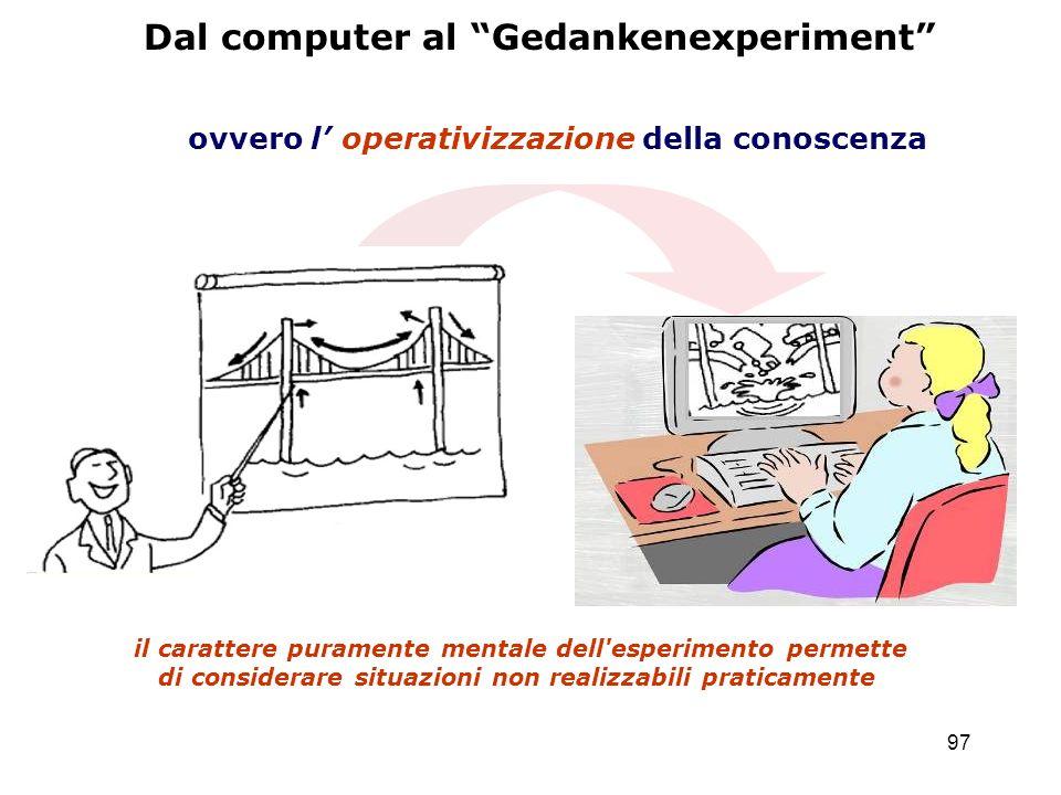 97 Dal computer al Gedankenexperiment ovvero l operativizzazione della conoscenza il carattere puramente mentale dell'esperimento permette di consider
