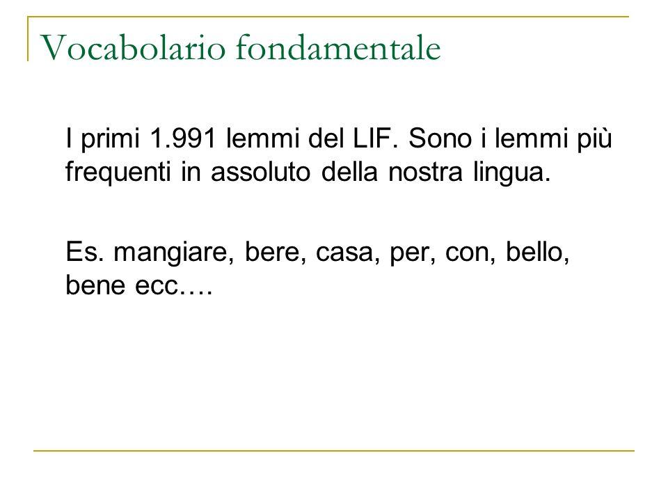 Vocabolario fondamentale I primi 1.991 lemmi del LIF. Sono i lemmi più frequenti in assoluto della nostra lingua. Es. mangiare, bere, casa, per, con,