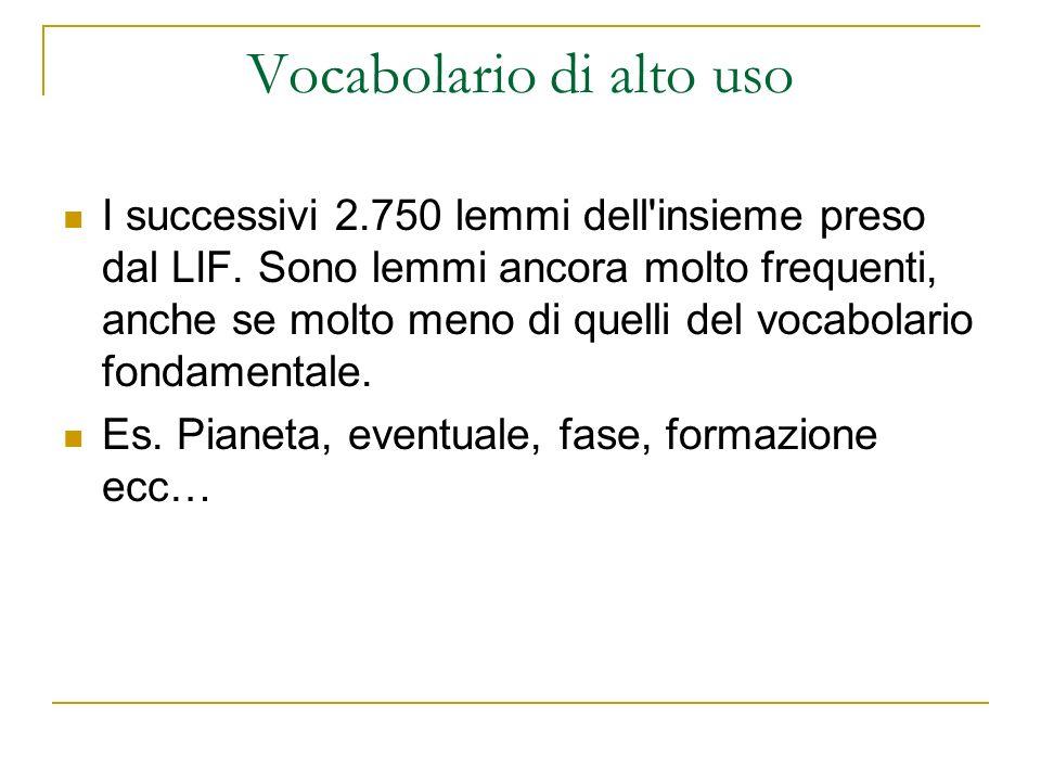 Vocabolario di alto uso I successivi 2.750 lemmi dell'insieme preso dal LIF. Sono lemmi ancora molto frequenti, anche se molto meno di quelli del voca
