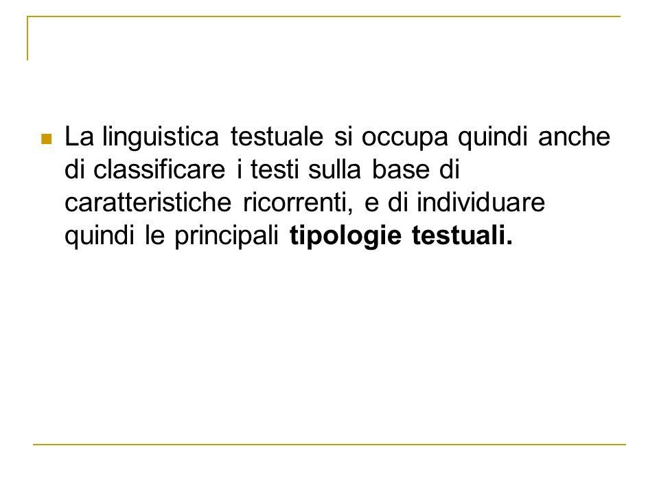 La linguistica testuale si occupa quindi anche di classificare i testi sulla base di caratteristiche ricorrenti, e di individuare quindi le principali