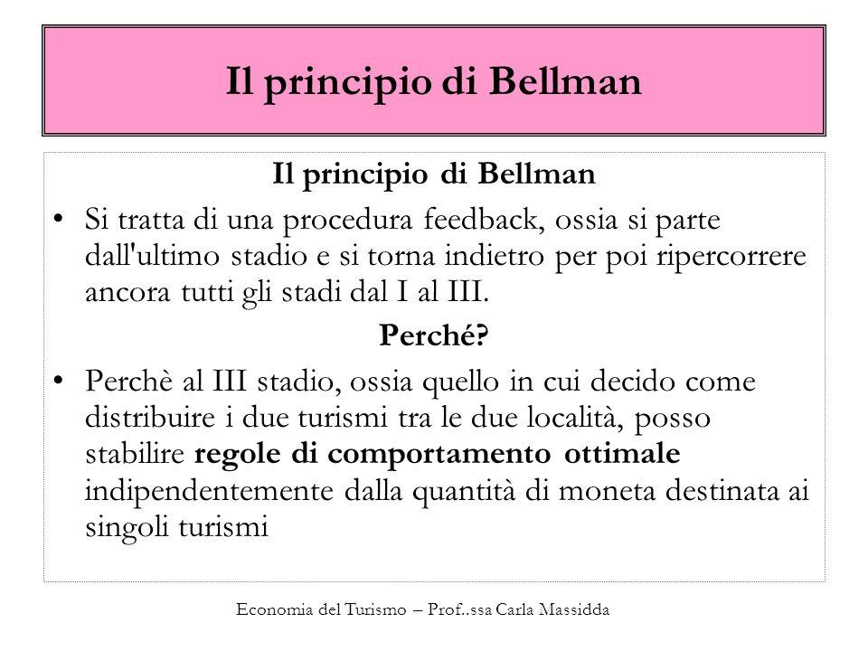 Economia del Turismo – Prof..ssa Carla Massidda Il principio di Bellman Si tratta di una procedura feedback, ossia si parte dall'ultimo stadio e si to