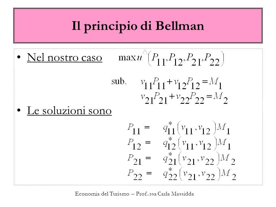 Economia del Turismo – Prof..ssa Carla Massidda Il principio di Bellman Nel nostro caso Le soluzioni sono