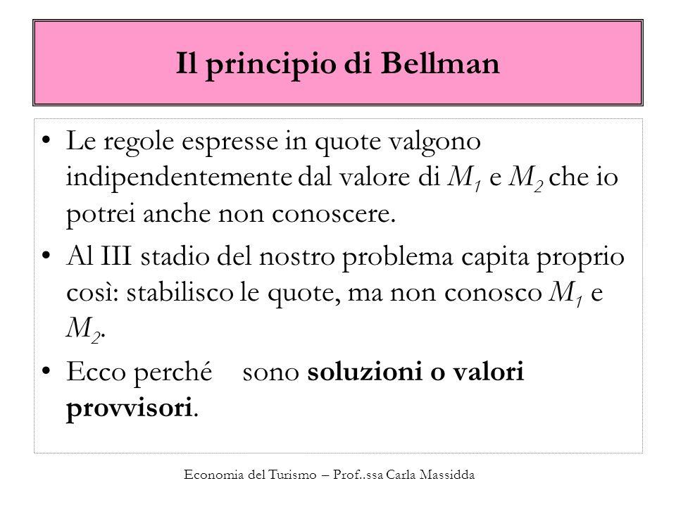 Economia del Turismo – Prof..ssa Carla Massidda Il principio di Bellman Le regole espresse in quote valgono indipendentemente dal valore di M 1 e M 2