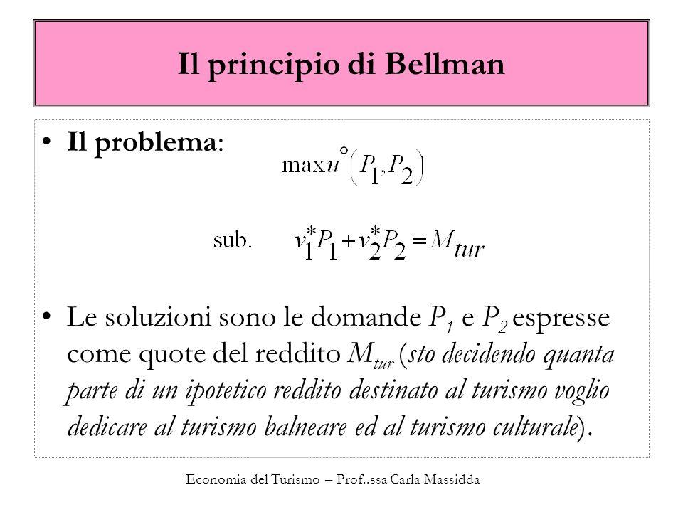 Economia del Turismo – Prof..ssa Carla Massidda Il principio di Bellman Il problema: Le soluzioni sono le domande P 1 e P 2 espresse come quote del re