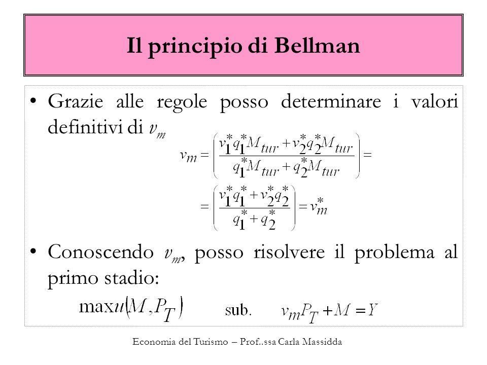 Economia del Turismo – Prof..ssa Carla Massidda Il principio di Bellman Grazie alle regole posso determinare i valori definitivi di v m Conoscendo v m