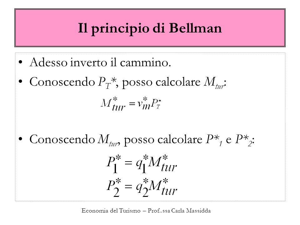 Economia del Turismo – Prof..ssa Carla Massidda Il principio di Bellman Adesso inverto il cammino. Conoscendo P T *, posso calcolare M tur : Conoscend