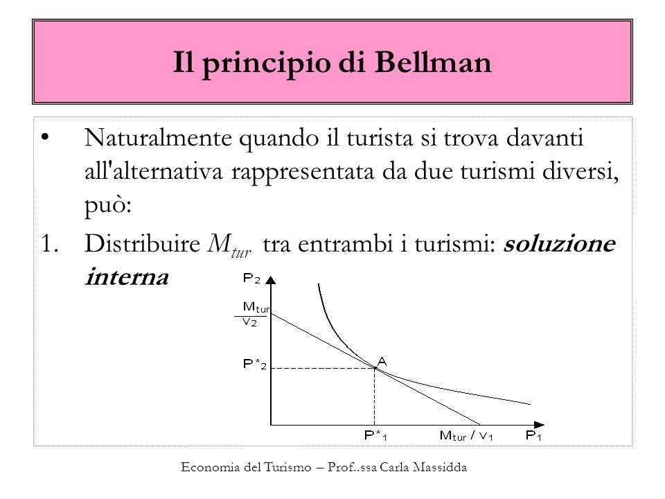 Economia del Turismo – Prof..ssa Carla Massidda Il principio di Bellman Naturalmente quando il turista si trova davanti all'alternativa rappresentata