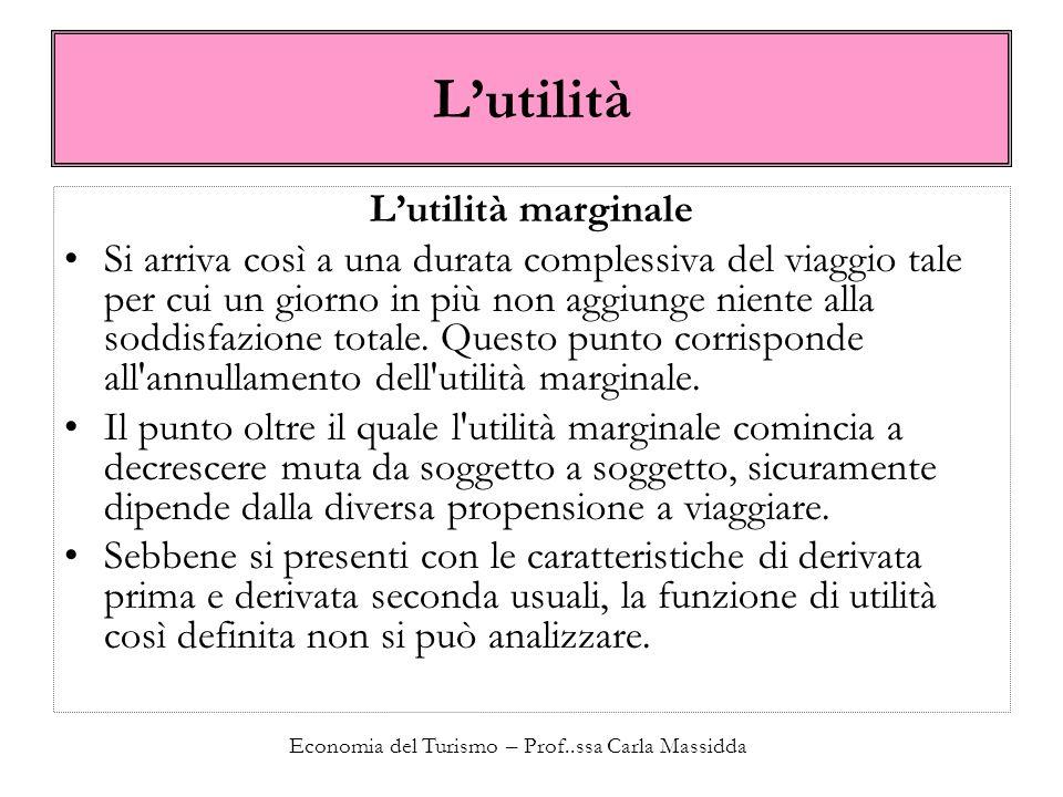 Economia del Turismo – Prof..ssa Carla Massidda Lutilità Lutilità marginale Si arriva così a una durata complessiva del viaggio tale per cui un giorno