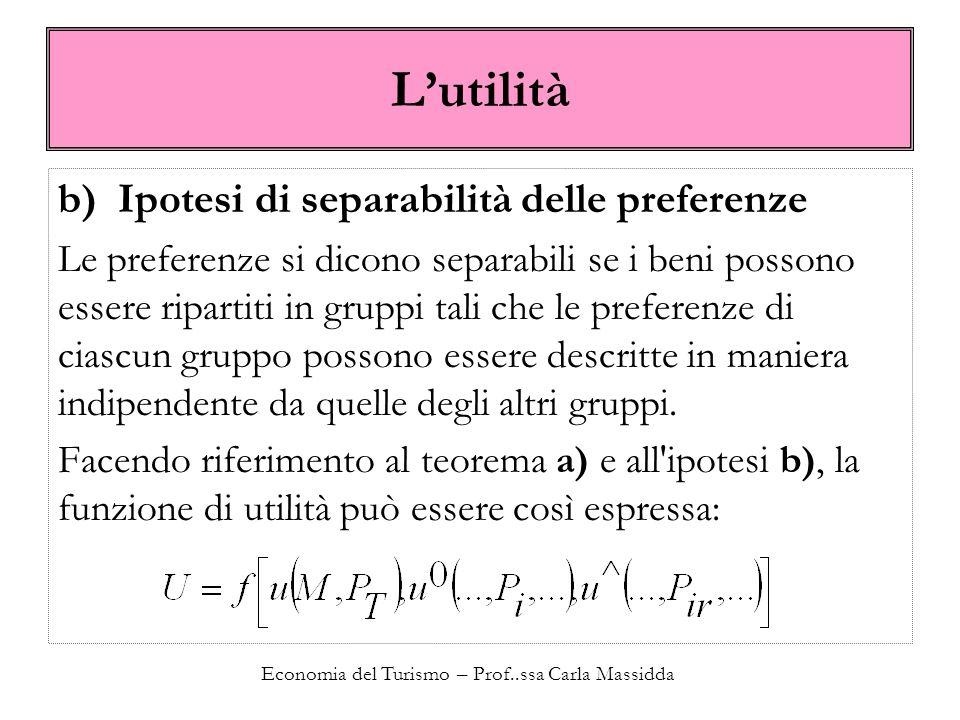 Economia del Turismo – Prof..ssa Carla Massidda Lutilità b) Ipotesi di separabilità delle preferenze Le preferenze si dicono separabili se i beni poss