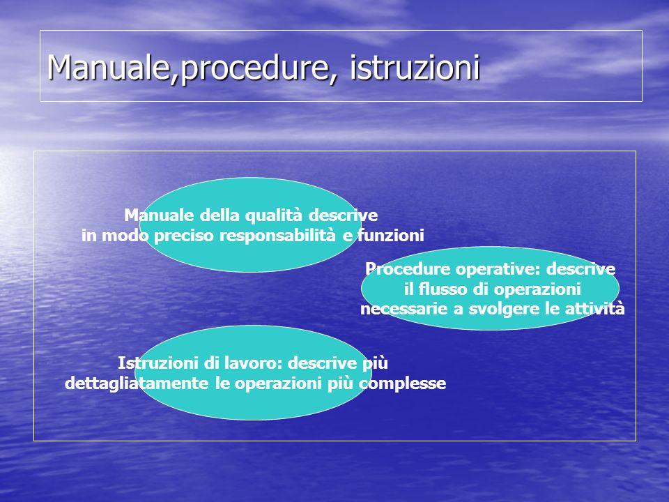 Manuale,procedure, istruzioni Manuale della qualità descrive in modo preciso responsabilità e funzioni Procedure operative: descrive il flusso di oper