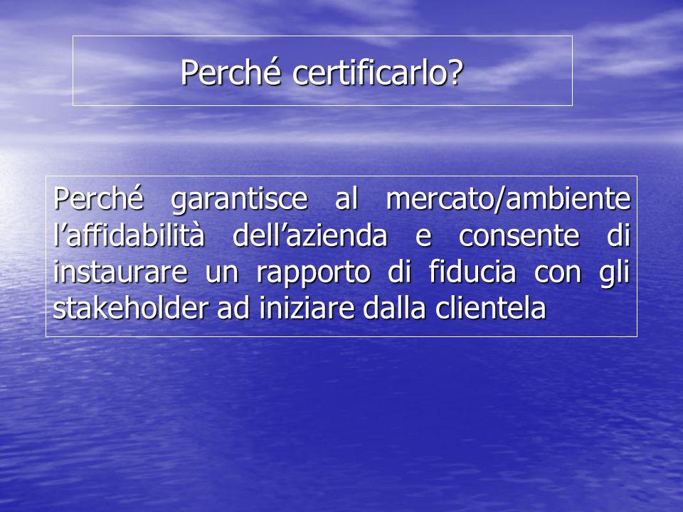Perché certificarlo? Perché garantisce al mercato/ambiente laffidabilità dellazienda e consente di instaurare un rapporto di fiducia con gli stakehold