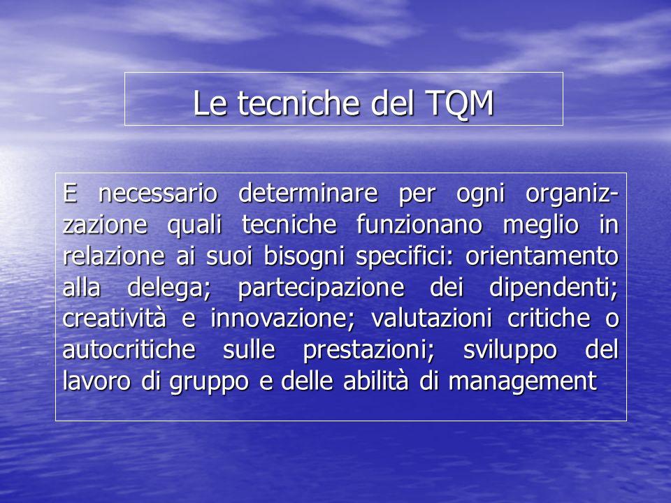 Le tecniche del TQM E necessario determinare per ogni organiz- zazione quali tecniche funzionano meglio in relazione ai suoi bisogni specifici: orient