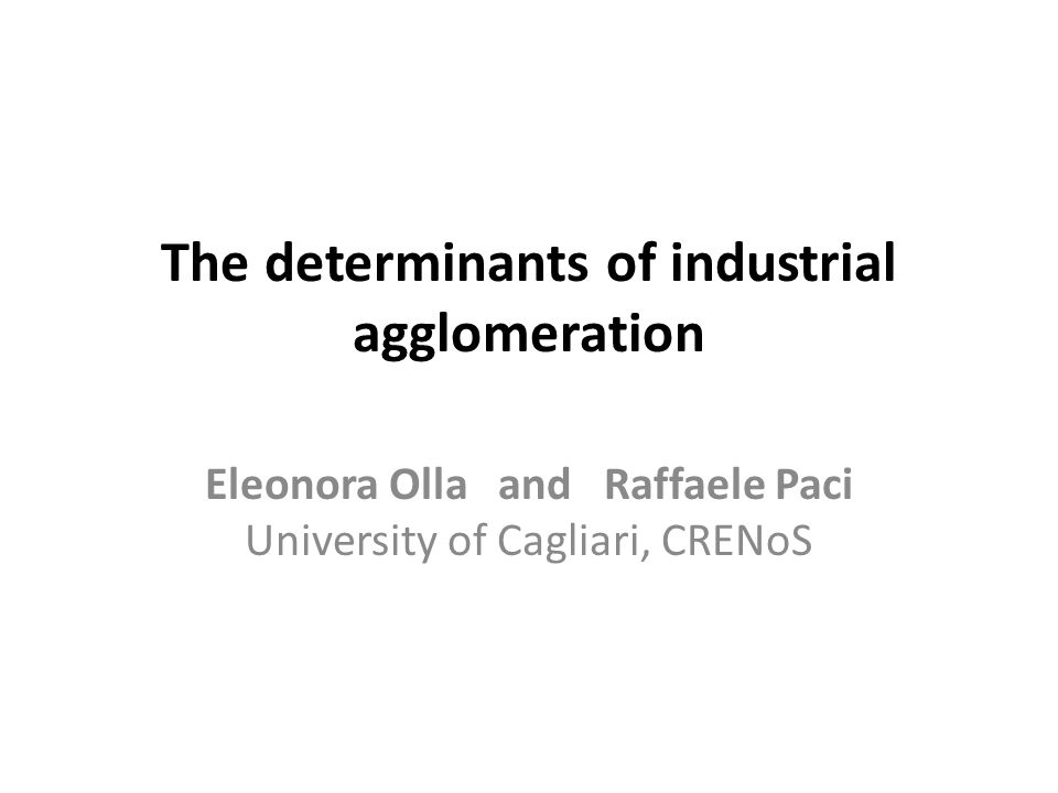 The determinants of industrial agglomeration Eleonora Olla and Raffaele Paci University of Cagliari, CRENoS
