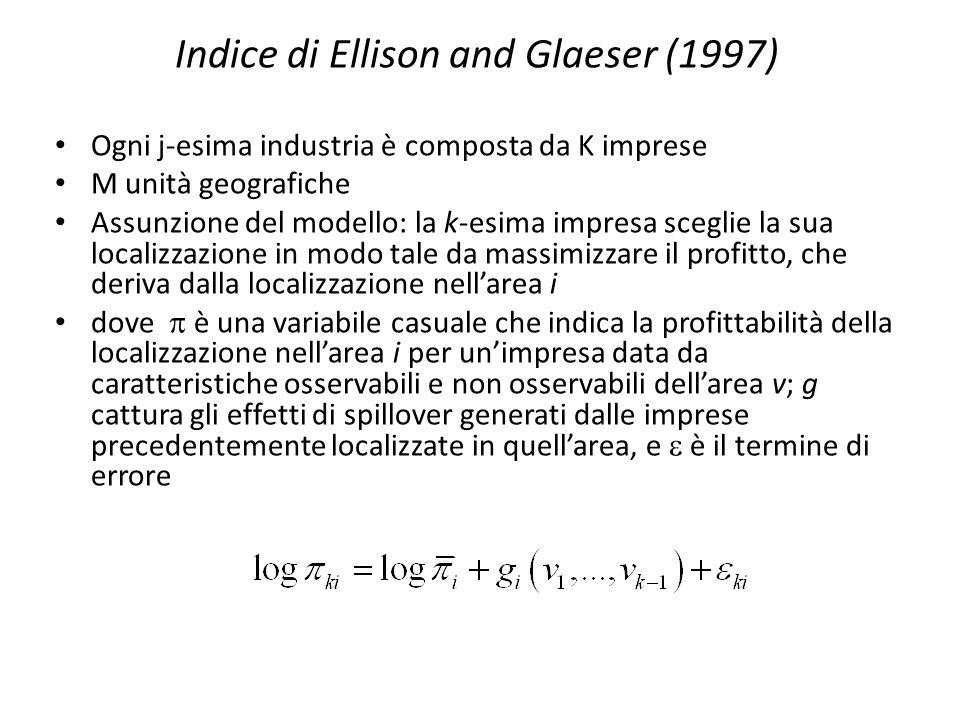 Indice di Devereux, Griffith e Simpson (1999) Problema per N>K (più regioni che impianti).