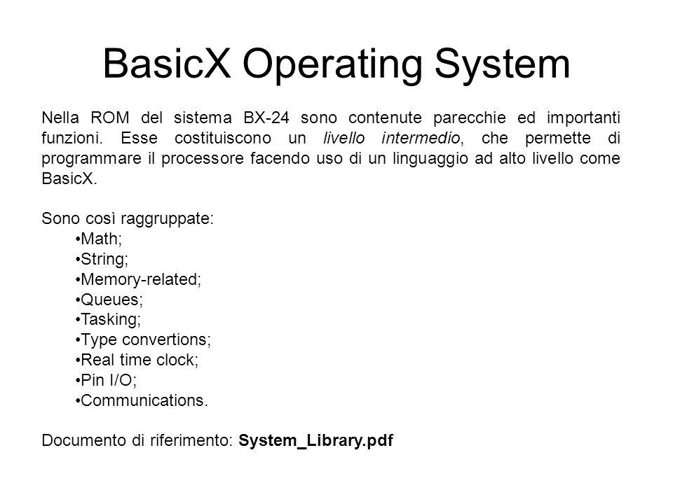 BasicX Operating System Nella ROM del sistema BX-24 sono contenute parecchie ed importanti funzioni.