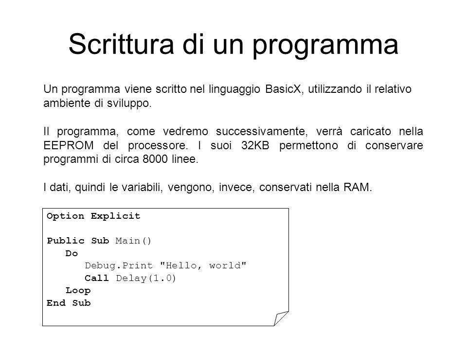 Scrittura di un programma Un programma viene scritto nel linguaggio BasicX, utilizzando il relativo ambiente di sviluppo.