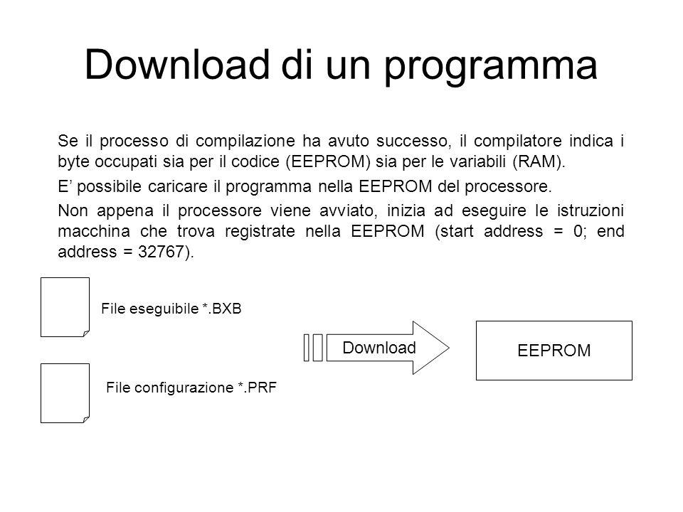 Download di un programma Se il processo di compilazione ha avuto successo, il compilatore indica i byte occupati sia per il codice (EEPROM) sia per le variabili (RAM).