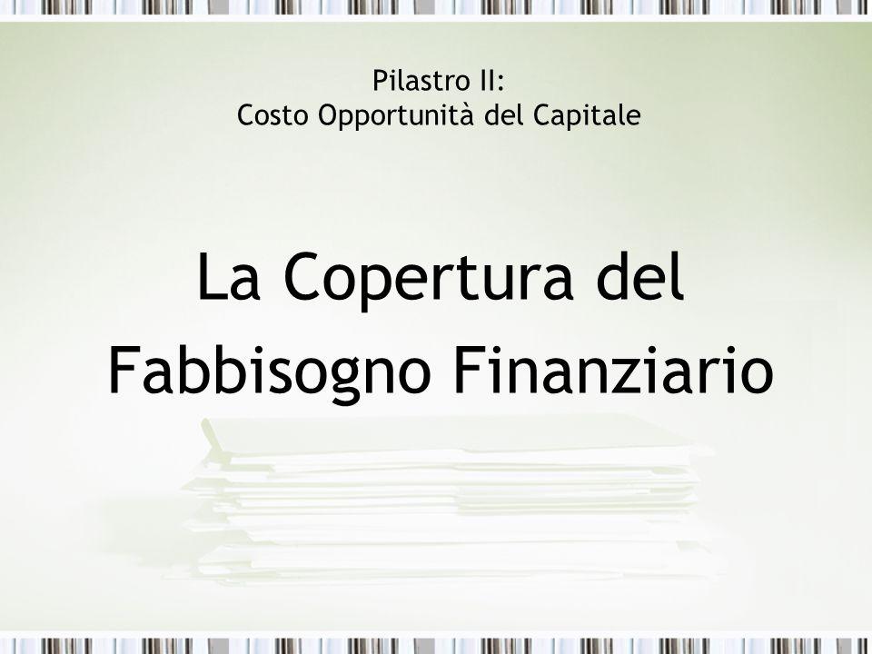 Pilastro II: Costo Opportunità del Capitale La Copertura del Fabbisogno Finanziario