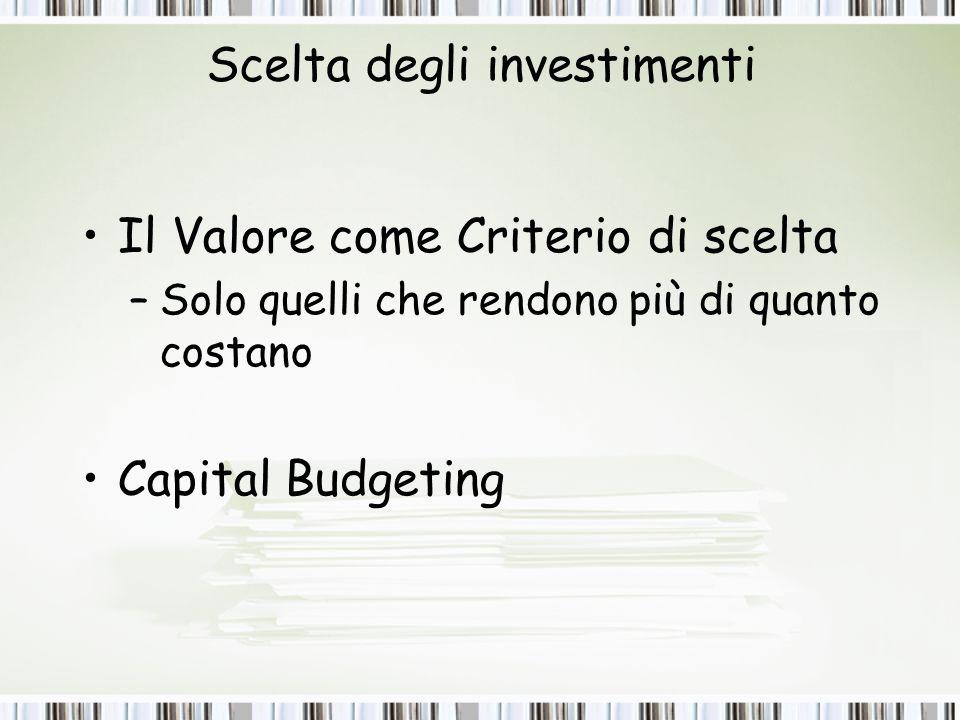 Scelta degli investimenti Il Valore come Criterio di scelta –Solo quelli che rendono più di quanto costano Capital Budgeting