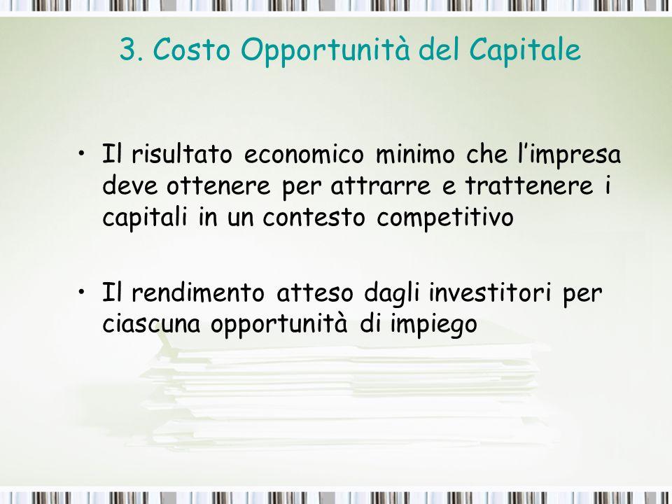 3. Costo Opportunità del Capitale Il risultato economico minimo che limpresa deve ottenere per attrarre e trattenere i capitali in un contesto competi