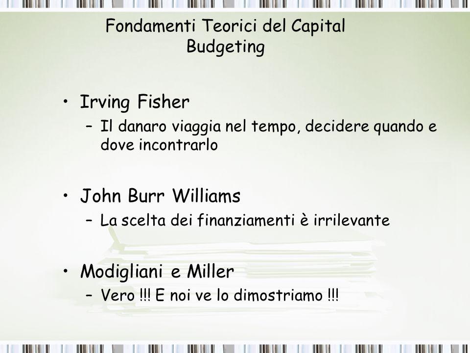 Fondamenti Teorici del Capital Budgeting Irving Fisher –Il danaro viaggia nel tempo, decidere quando e dove incontrarlo John Burr Williams –La scelta dei finanziamenti è irrilevante Modigliani e Miller –Vero !!.