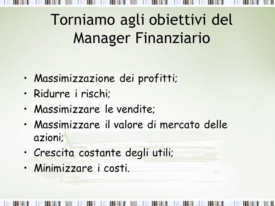 Torniamo agli obiettivi del Manager Finanziario Massimizzazione dei profitti; Ridurre i rischi; Massimizzare le vendite; Massimizzare il valore di mercato delle azioni; Crescita costante degli utili; Minimizzare i costi.