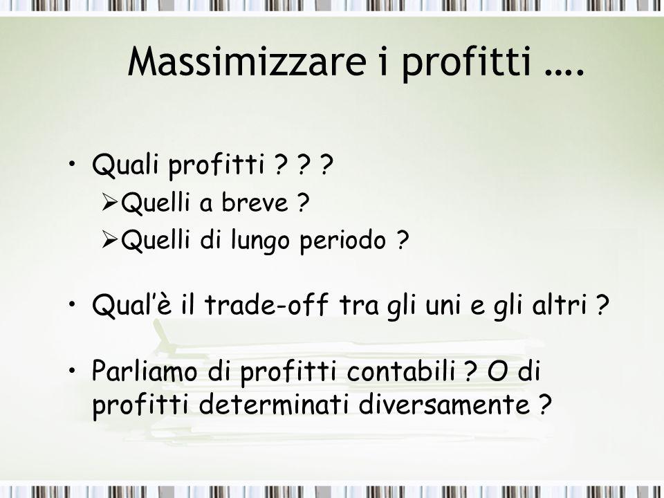 Massimizzare i profitti ….Quali profitti . Quelli a breve .