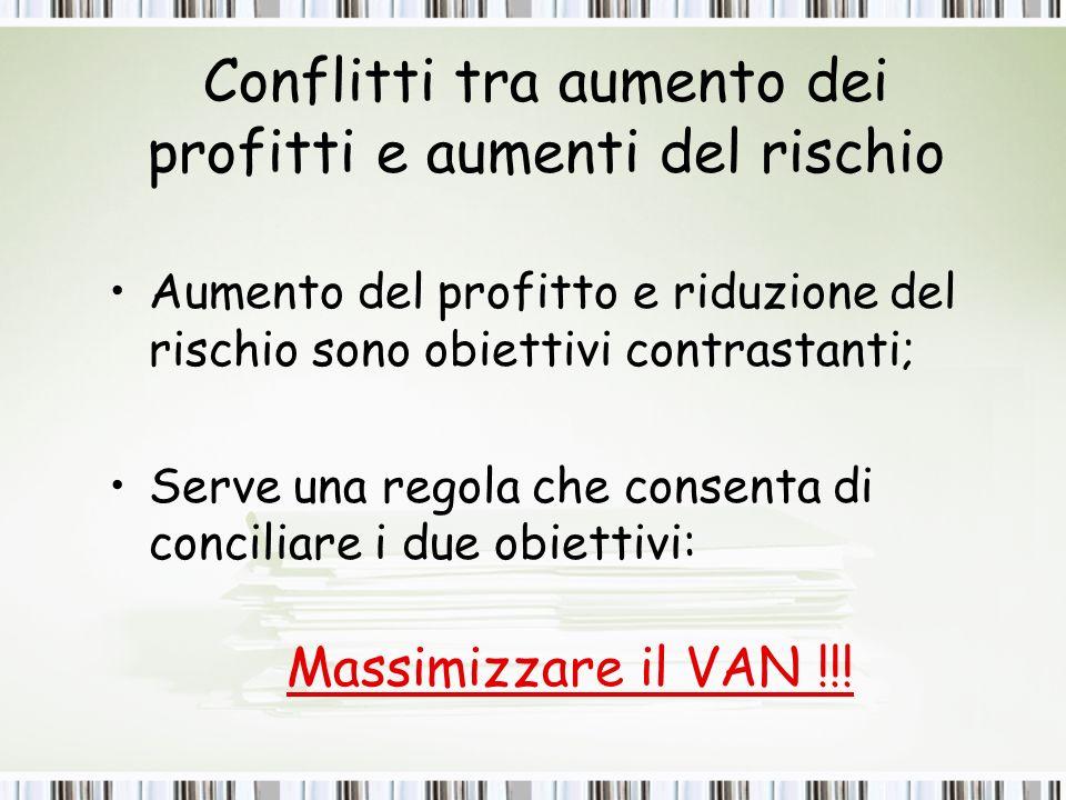 Conflitti tra aumento dei profitti e aumenti del rischio Aumento del profitto e riduzione del rischio sono obiettivi contrastanti; Serve una regola che consenta di conciliare i due obiettivi: Massimizzare il VAN !!!