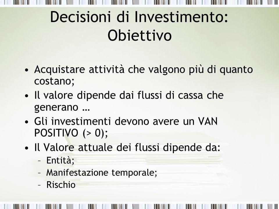 Decisioni di Investimento: Obiettivo Acquistare attività che valgono più di quanto costano; Il valore dipende dai flussi di cassa che generano … Gli investimenti devono avere un VAN POSITIVO (> 0); Il Valore attuale dei flussi dipende da: –Entità; –Manifestazione temporale; –Rischio
