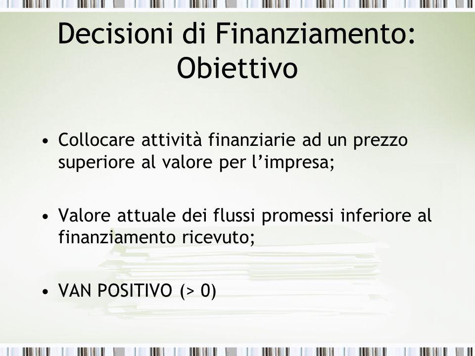 Decisioni di Finanziamento: Obiettivo Collocare attività finanziarie ad un prezzo superiore al valore per limpresa; Valore attuale dei flussi promessi inferiore al finanziamento ricevuto; VAN POSITIVO (> 0)