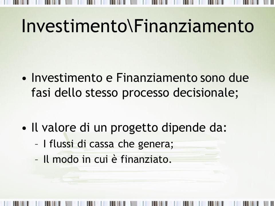 Investimento\Finanziamento Investimento e Finanziamento sono due fasi dello stesso processo decisionale; Il valore di un progetto dipende da: –I flussi di cassa che genera; –Il modo in cui è finanziato.