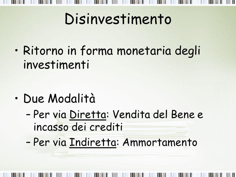Disinvestimento Ritorno in forma monetaria degli investimenti Due Modalità –Per via Diretta: Vendita del Bene e incasso dei crediti –Per via Indiretta: Ammortamento