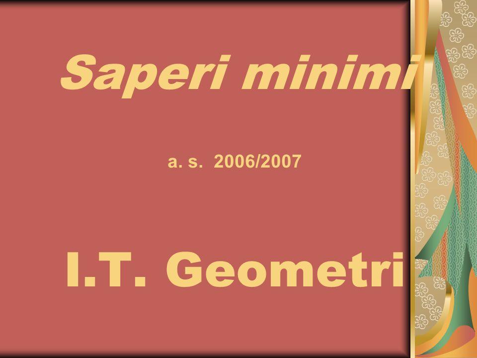 Saperi minimi a. s. 2006/2007 I.T. Geometri
