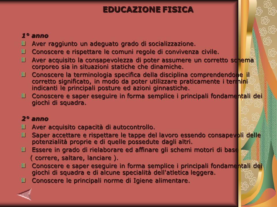 EDUCAZIONE FISICA 1° anno Aver raggiunto un adeguato grado di socializzazione.