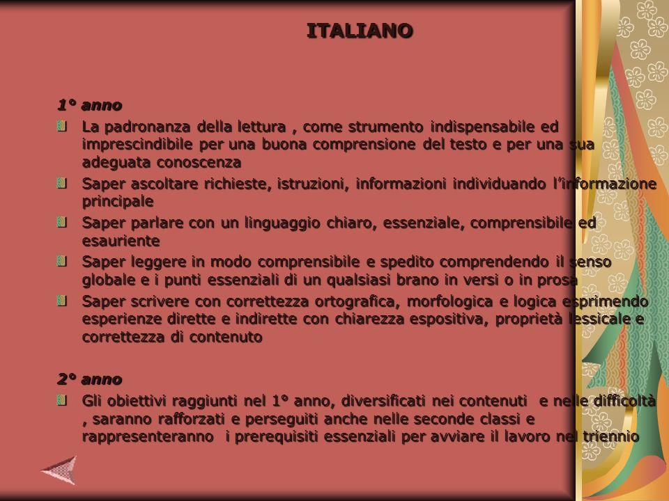 ITALIANO 4° anno Alla fine del 4° ano lo studente dovrà raggiungere: La consapevolezza del fenomeno letterario.