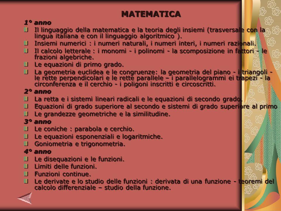 MATEMATICA 1° anno Il linguaggio della matematica e la teoria degli insiemi (trasversale con la lingua italiana e con il linguaggio algoritmico ).